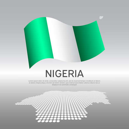 Nigeria flag, mosaic map on light background. Vector banner design, nigeria national poster. Cover for business booklet. Wavy nigerian flag. State patriotic, flyer, brochure