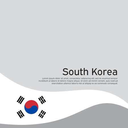Abstract south korea flag on light background. Cover for business booklet. Vector brochure design. Wavy ribbon with the south korean flag. National poster. State patriotic banner, flyer Illusztráció