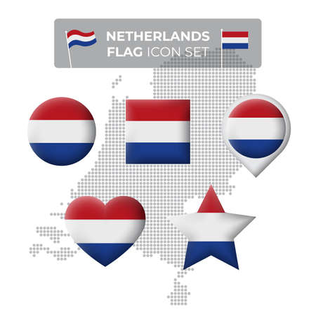 Netherlands denmark flag icons set in the shape of square, heart, circle, stars and pointer, map marker. Mosaic map of denmark. Dutch flag. Vector symbol, icon, button