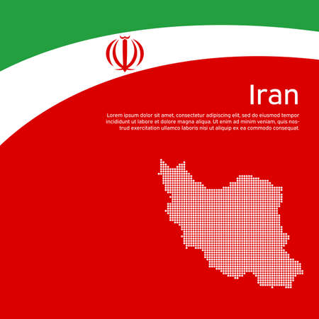 Abstract waving iran flag, mosaic map. Iranian state patriotic banner, flyer. Business booklet. Card design. Creative background for the patriotic holiday. Iran national poster. Vector flat design