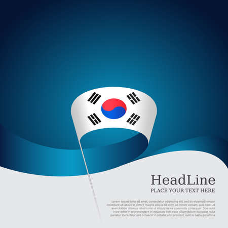 South korea flag on a blue white background. Vector brochure design. Cover for business booklet. Wavy ribbon with the south korean flag. National poster. State patriotic banner, flyer Illusztráció
