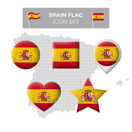 Spain flag icons set in the shape of square, heart, circle, stars and pointer, map marker, spain mosaic map. Spanish flag. Vector symbol, icon, button
