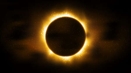 Luxury black background, particles golden glitter in form ring, circle. Shining gold frame, place for text. Awards ceremony. Festive round border. Beautiful background gold. Decorative solar eclipse