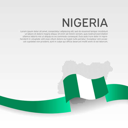 Nigeria flag, mosaic map on white background. Vector banner design, nigeria national poster. Cover for business booklet. Wavy ribbon with the nigerian flag. State patriotic, flyer, brochure Illusztráció
