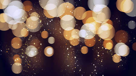 Bokeh background with golden glitter particles. Gold confetti with magic light. Luxury beautiful festive shining background. Glow light effect on dark. Party invitation card template, design element
