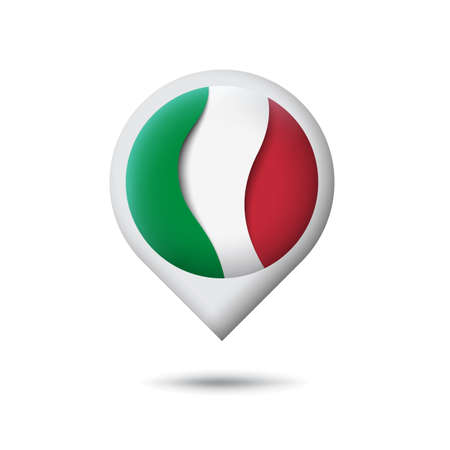 Italy flag icon in the shape of pointer, map marker. Waving in the wind. Abstract waving italy flag. Italian tricolor. Paper cut style. Vector symbol, icon, button Illusztráció