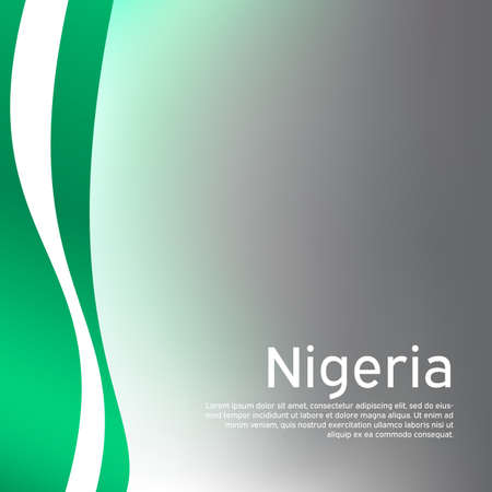 Abstract waving nigeria flag. Creative background in nigeria flag colors for holiday card design. National poster. State nigerian patriotic cover, business booklet, flyer. Vector design