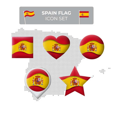 Spain flag icons set in the shape of square, heart, circle, stars and pointer, map marker, spain mosaic map. Waving in the wind. Spanish flag. Paper cut. Vector symbol, icon, button Illusztráció