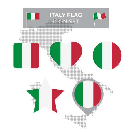Italy flag icons set in the shape of square, heart, circle, stars and pointer, map marker. Mosaic map of italy. Italian tricolor. Vector flat symbol, icon, button
