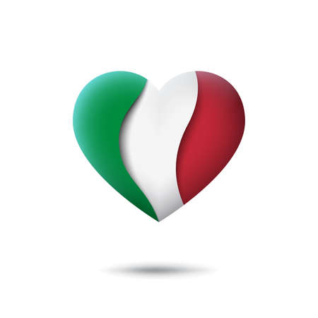Italy flag icon in the shape of heart. Waving in the wind. Abstract waving italy flag. Italian tricolor. Paper cut style. Vector symbol, icon, button Illusztráció