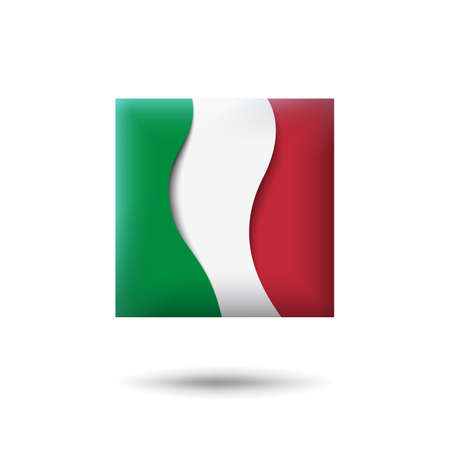Italy flag icon in the shape of square. Waving in the wind. Abstract waving italy flag. Italian tricolor. Paper cut style. Vector symbol, icon, button