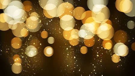 Luxury bokeh background with golden glitter particles. Falling gold confetti with magic light. Beautiful festive shining background. Glow light effect on dark. Party invitation card template