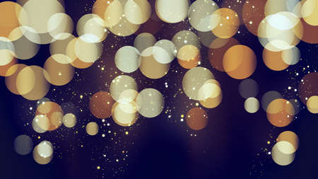 Blue bokeh background with golden glitter particles. Gold confetti. Luxury beautiful festive shining background. Glow light effect on dark. Party invitation card template, design element