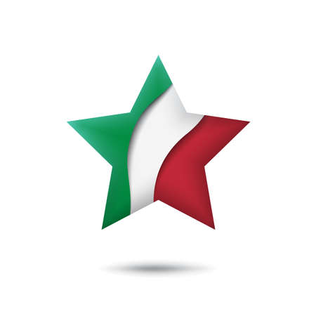 Italy flag icon in the shape of star. Waving in the wind. Abstract waving italy flag. Italian tricolor. Paper cut style. Vector symbol, icon, button