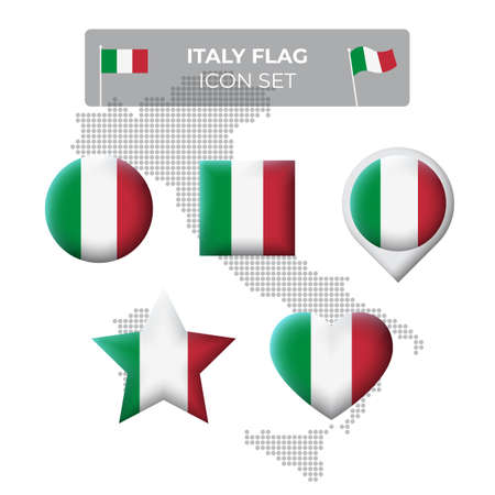 Italy flag icons set in the shape of square, heart, circle, stars and pointer, map marker. Mosaic map of italy. Italian tricolor. Vector symbol, icon, button Illusztráció