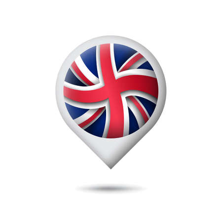 Great Britain flag icon in the shape of pointer, map marker. UK pattern. Abstract flag of united kingdom. Paper cut style. Vector symbol, icon, button