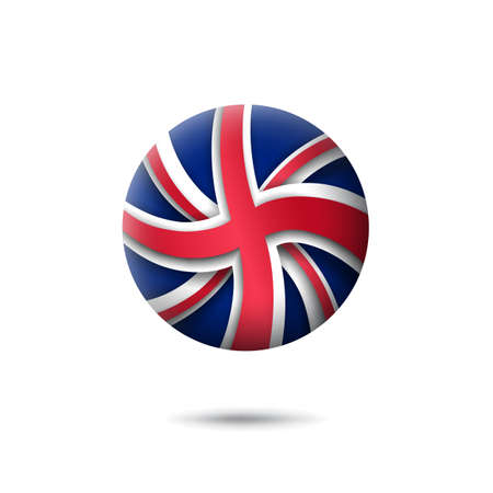 Great Britain flag icon in the shape of circle. Waving in the wind. Abstract flag of united kingdom. UK pattern. Paper cut style. Vector symbol, icon, round button
