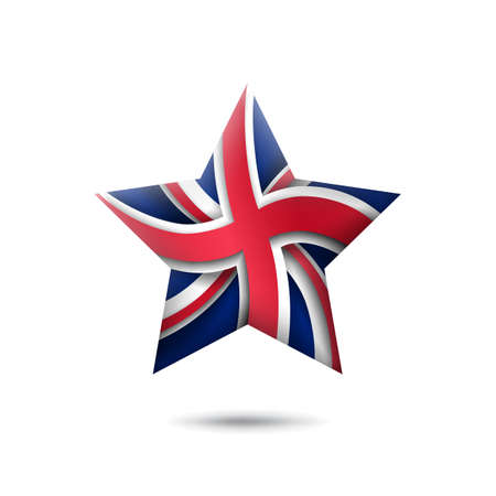 Great Britain flag icon in the shape of star. Waving in the wind. Abstract flag of united kingdom. UK pattern. Paper cut style. Vector symbol, icon, button