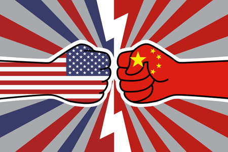 USA China trade war. US flag fist vs china flag fist. American chinese economic confrontation. Vector flat icon for web banner, posts