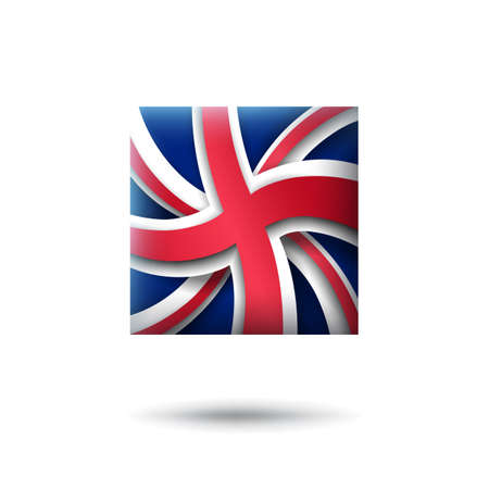Great Britain flag icon in the shape of square. Waving in the wind. Abstract flag of united kingdom. UK pattern. Paper cut style. Vector symbol, icon, button