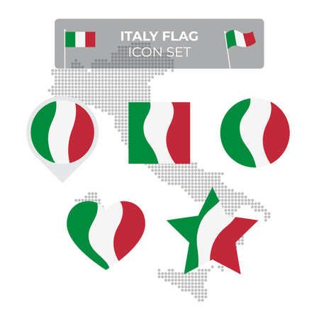 Italy flag icons set in the shape of square, heart, circle, stars and pointer, map marker. Mosaic map of italy. Waving in the wind. Italian tricolor. Vector flat symbol, icon, button