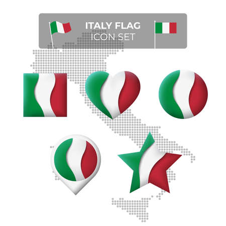 Italy flag icons set in the shape of square, heart, circle, stars and pointer, map marker. Mosaic map of italy. Waving in the wind. Italian tricolor. Paper cut. Vector symbol, icon, button Illusztráció
