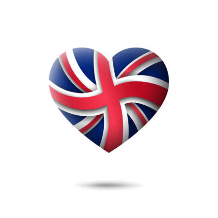 Great Britain flag icon in the shape of heart. Abstract flag of united kingdom. UK pattern. Flat style. Vector symbol, icon, round button