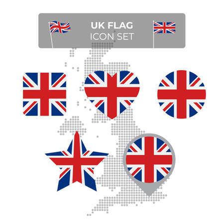United Kingdom, great britain wavy flag icons set - square, heart, circle, stars, pointer, map marker. Mosaic map of great britain. Union Jack, union flag. Vector flat uk symbol, icon, button