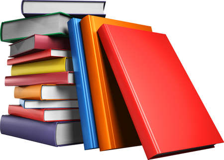 A stack of multicolored books. Education concept, back to school. 3d illustration