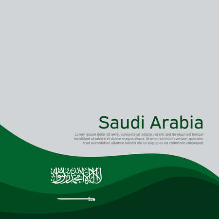 Abstract waving saudi arabia flag. Creative background for the design of patriotic holiday cards. National poster. Cover, banner in national colors of saudi arabia. Vector illustration Illustration