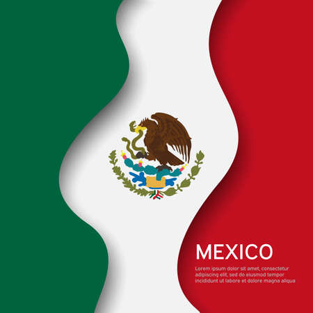 Abstract waving mexico flag. Creative background for mexico holidays postcard design. Business booklet. Paper cut style. Graphic background for poster. Vector illustration of the mexican flag. Banner Illustration