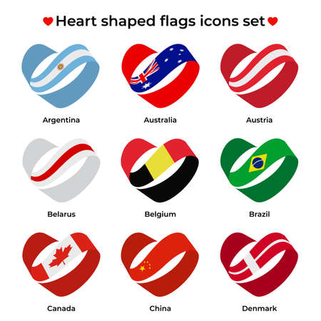 Heart shaped flags icons set. Icon flag from Ribbon curls. Vector icon, symbol, button. Illustration in flat style