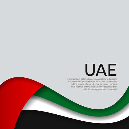 Abstract waving flag of united arab emirates. UAE business booklet, flyer. Paper cut style. Creative background for the design of the patriotic holiday card of uae. National Poster. Vector design