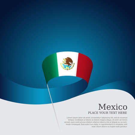 Mexico flag on a blue white background. Vector banner design, mexico national poster. Cover for business booklet. Wavy ribbon with the mexican flag. State patriotic, flyer, brochure