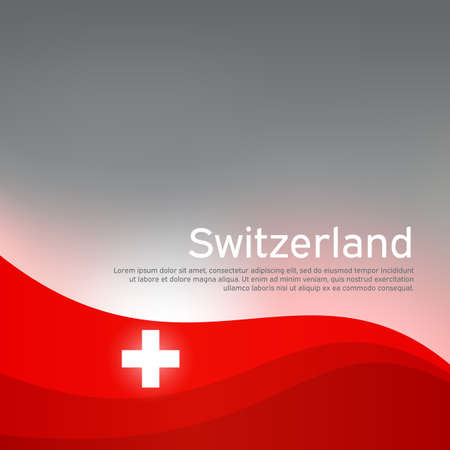 Abstract waving switzerland flag. Creative shining background for design of patriotic swiss holiday cards. National poster. Cover, banner in national colors of switzerland. Vector illustration Illustration