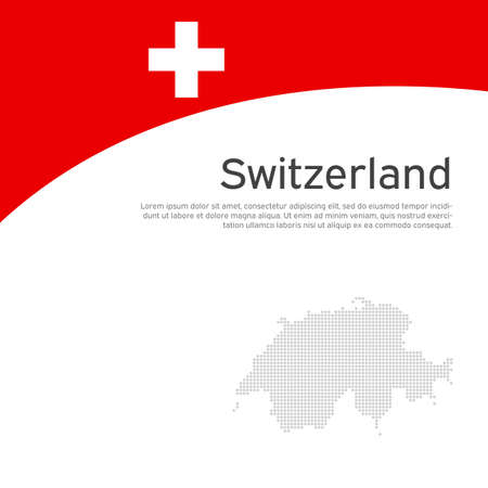 Abstract switzerland flag, mosaic map. Creative background for design of patriotic swiss holiday cards. National poster. Cover, banner in national colors of switzerland. Vector flat illustration, template Illustration