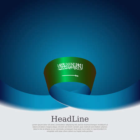 Saudi Arabia flag with wavy ribbon on a blue white background. Background with flag of saudi arabia, national poster. Vector design state patriotic banner, cover, business flyer
