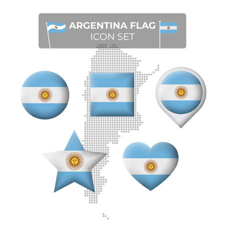 Argentina flag icons set in the shape of square, heart, circle, stars and pointer, map marker. Mosaic map of argentina. Argentine vector symbol, icon, button