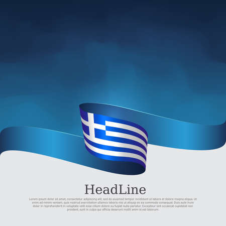 Greece flag background. Greece flag with wavy ribbon on a blue white background. National greek poster. Vector design state patriotic banner, cover, flyer. Illustration