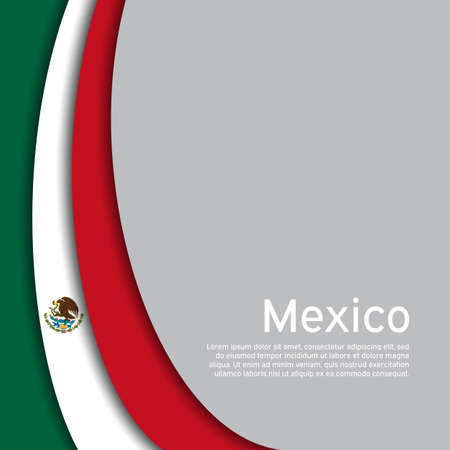 Abstract waving mexico flag. Creative background in mexico flag colors for holiday card design. National Poster. State mexican patriotic cover, business booklet, flyer. Paper cut. Vector design Illustration
