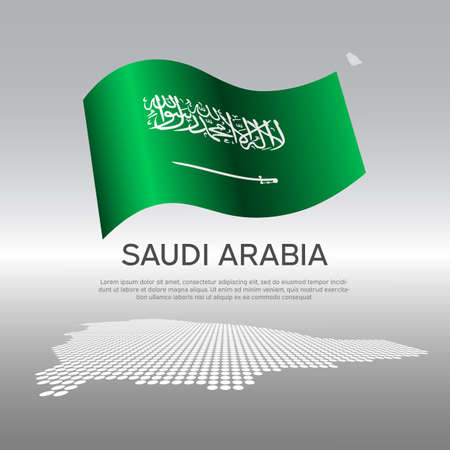 Saudi Arabia wavy flag and mosaic map on light background. Creative background for saudi arabia national poster. Vector design. Business booklet. State patriotic banner, flyer