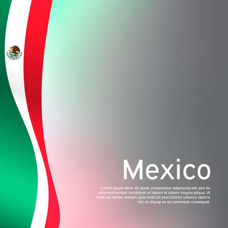 Abstract waving mexico flag. Creative background in mexico flag colors for holiday card design. National Poster. State mexican patriotic cover, business booklet, flyer. Vector tricolor design