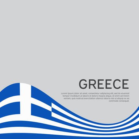 Background with flag of greece. Greece flag on a white background. National poster design. Business booklet. State greek patriotic banner, flyer. Wave pattern. Vector illustration
