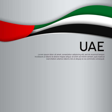 Abstract waving flag of united arab emirates. Paper cut style. Creative background for the design patriotic holiday card of uae. National poster. UAE state business booklet, cover. Vector design