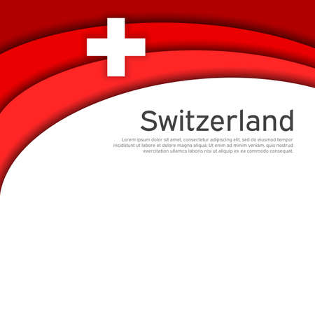 Abstract waving switzerland flag. Paper cut style. Creative background for the design of patriotic swiss holiday cards. National poster. Cover, banner in national colors of switzerland. Vector illustration