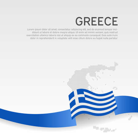 Greece wavy flag and mosaic map on white background. Greece flag wavy ribbon color. National poster design. State greek patriotic banner, flyer. Business booklet. Vector illustration