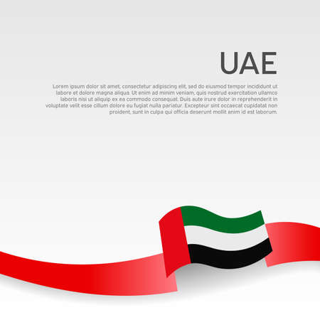 Background with flag of united arab emirates. UAE flag with wavy ribbon on a white background. National poster design. Business booklet. State UAE patriotic banner, flyer. Vector illustration Illustration