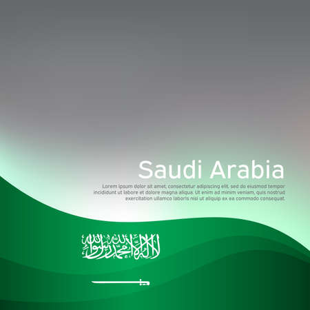 Abstract waving saudi arabia flag. Creative shining background for design of patriotic holiday cards. National poster. Cover, banner in national colors of saudi arabia. Vector illustration