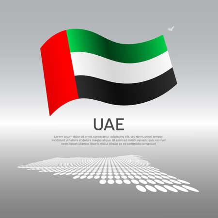 United arab emirates wavy flag and mosaic map on light background. Creative background for uae national poster. Vector design. Business booklet. State UAE patriotic banner, flyer Illustration