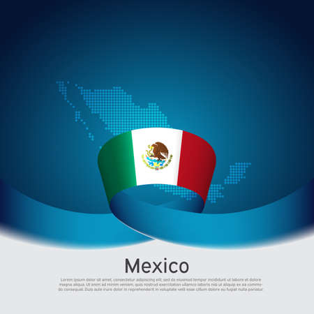 Mexico flag, mosaic map on blue white background. Vector banner design. Mexico national poster. Cover for business booklet. Wavy ribbon with the mexican flag. State patriotic, flyer, brochure